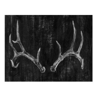 Rustic Deer Animal Head on Chalkboard Postcard