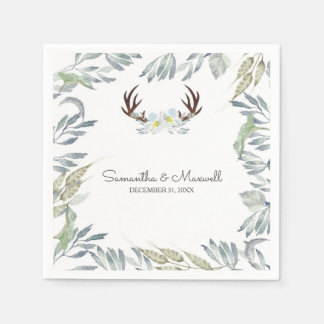 RUSTIC Deer Antler and Greenery, Blue Paper Napkin