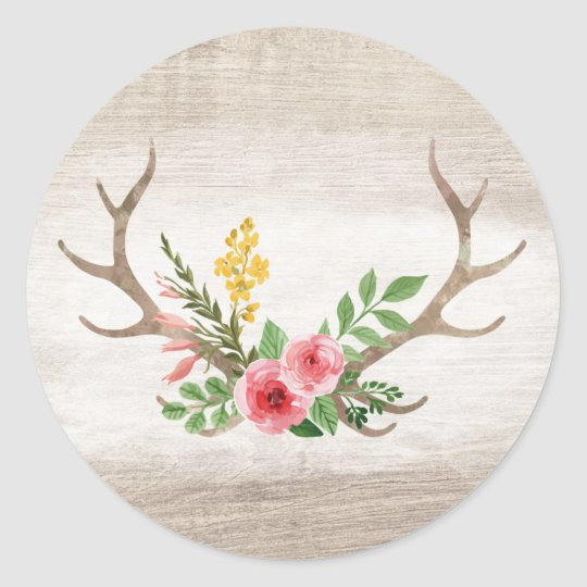 Rustic Deer Antler Bohemian Floral Watercolor Wood Classic