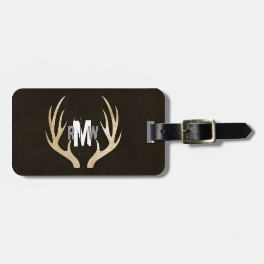 Rustic Deer Antler Monogram Luggage Tag | Grunge