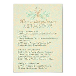 Rustic Deer Antler Wedding WEEKEND ITINERARY Card 13 Cm X 18 Cm Invitation Card