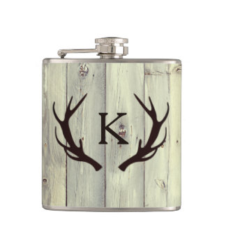 Rustic Deer Antler with Monogram Pale Barn Wood Flasks