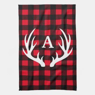 Rustic Deer Antlers & Buffalo Check Plaid Tea Towel