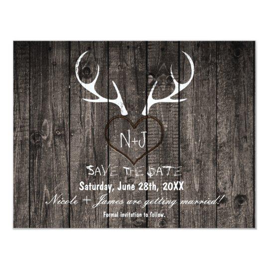 Rustic Deer Antlers & Carved Heart Save The