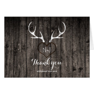 Rustic Deer Antlers & Carved Heart Thank You Card