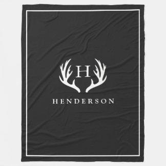 Rustic Deer Antlers Monogram Black Fleece Blanket