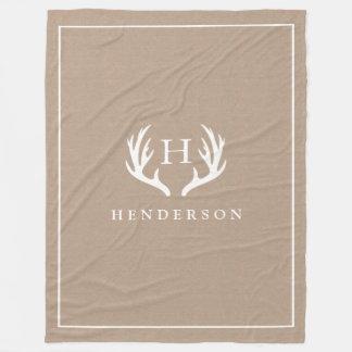 Rustic Deer Antlers Monogram Burlap Fleece Blanket