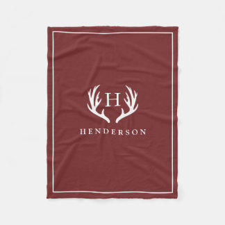 Rustic Deer Antlers Monogram Cranberry Red Fleece Blanket