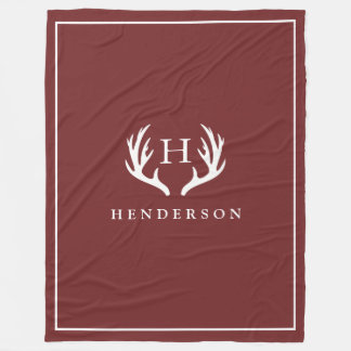 Rustic Deer Antlers Monogram Cranberry Red Fleece Blanket