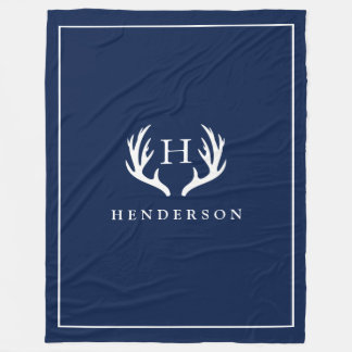 Rustic Deer Antlers Monogram Navy Fleece Blanket