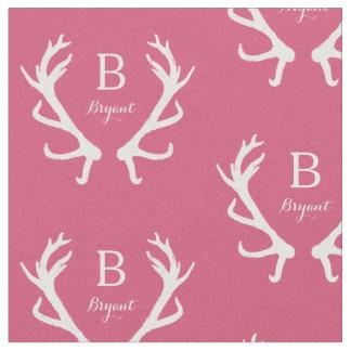 Rustic Deer Antlers Monogram, Pink Fabric