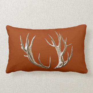 Rustic Deer Antlers Rust Orange Lumbar Pillow