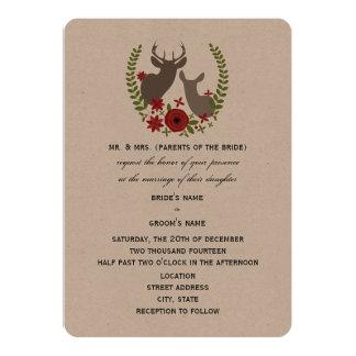 Rustic Deer Christmas Wedding 13 Cm X 18 Cm Invitation Card