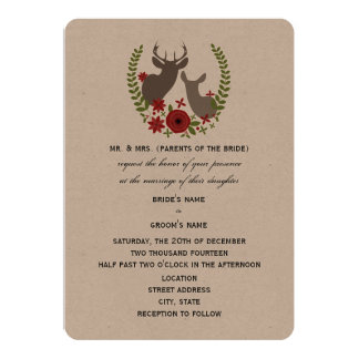 Rustic Deer Christmas Wedding Card