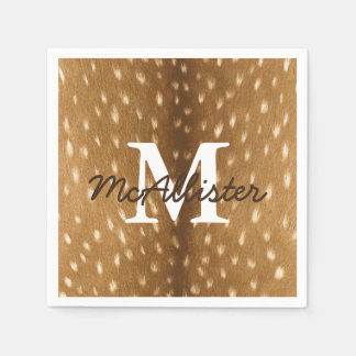 Rustic Deer Fawn Hide Personalized Disposable Serviettes