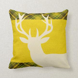 Rustic Deer Head Silhouette Burlap Plaid | yellow Throw Cushions