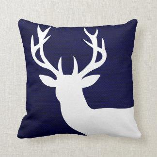 Rustic Deer Head Silhouette on Burlap | navy white Throw Cushions