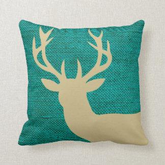 Rustic Deer Head Silhouette on Burlap | turquoise Cushion