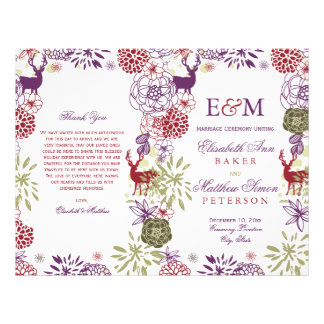 Rustic Deer Holiday Floral Wedding Program Flyer