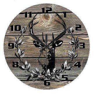 Rustic Deer Laurel leaves Old Wooden Boards Large Clock