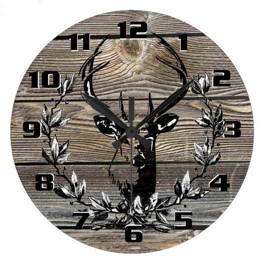Rustic Deer Laurel leaves Old Wooden Boards Wall
