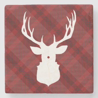 RUSTIC DEER | RED PLAID | STYLISH HOLIDAY COASTERS