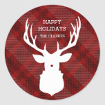 RUSTIC DEER | RED PLAID | STYLISH HOLIDAY STICKERS