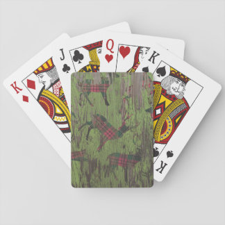 rustic deer reindeer plaid playing cards