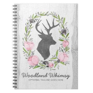 Rustic Deer Silhouette Floral Wreath Cameo on Wood Notebook