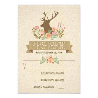 Rustic deer wedding RSVP cards