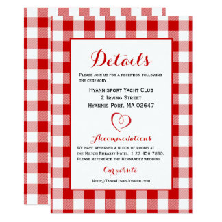 Rustic Details Directions Gingham Red White Checks 11 Cm X 16 Cm Invitation Card