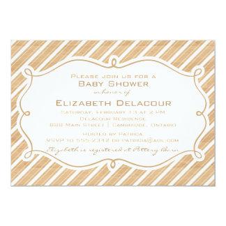 Rustic Diagonal Stripes Baby Shower Invitation
