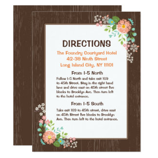 Rustic Directions Brown Wood Pink Floral Card