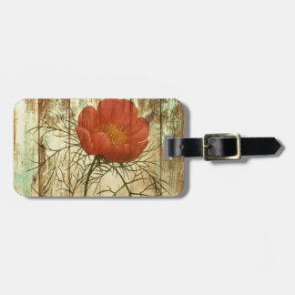 rustic distressed barn wood poppy flower luggage tag