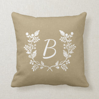 Rustic Distressed Beige And White Wreath Cushion