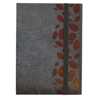 Rustic Distressed Leather Autumn Leaves Theme iPad Air Covers