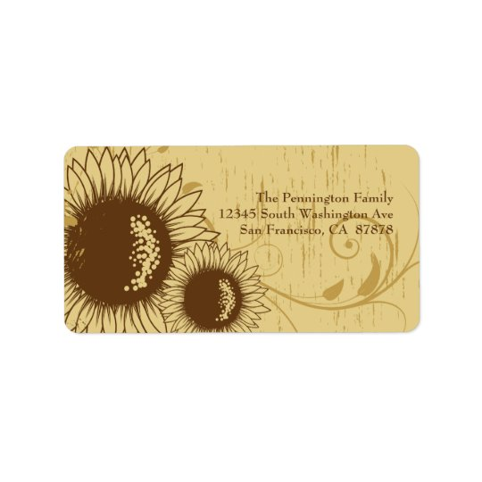 Rustic distressed sunflower wedding address label