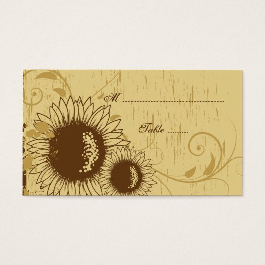 Rustic distressed sunflower wedding place card