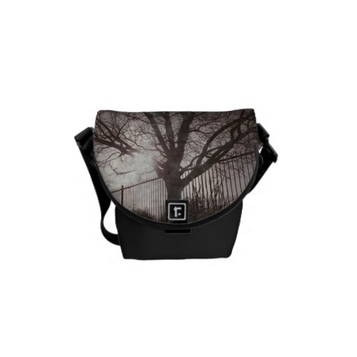 Rustic Distressed Tree Silhouette Grunge Courier Bags