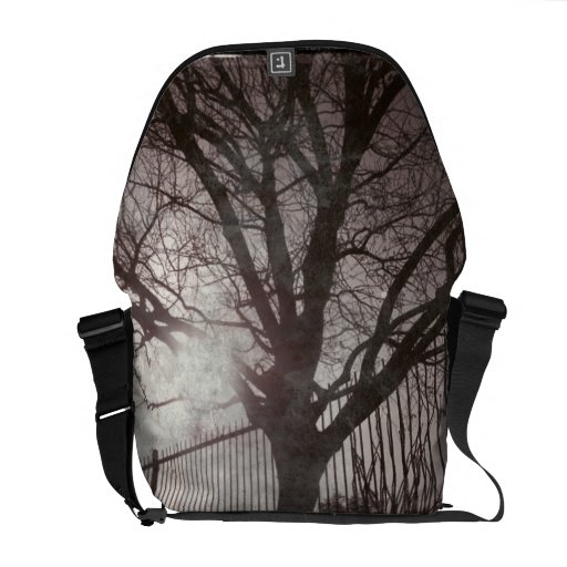 Rustic Distressed Tree Silhouette Grunge Courier Bag
