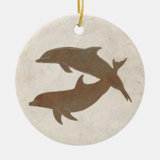 Rustic Dolphins Beach Wedding Christmas Ornament