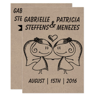 Rustic Doodle Couple Lesbian Wedding Invitation