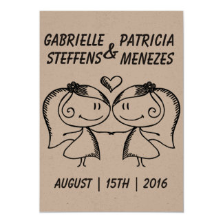 Rustic Doodle Couple Lesbian Wedding Invitation