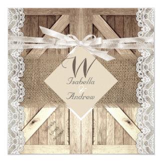 Rustic Door Wedding Beige Lace Wood Burlap Writing 13 Cm X 13 Cm Square Invitation Card