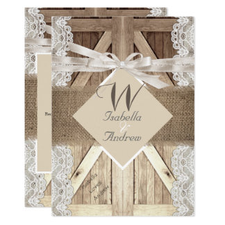 Rustic Door Wedding Beige Lace Wood Burlap Writing Card