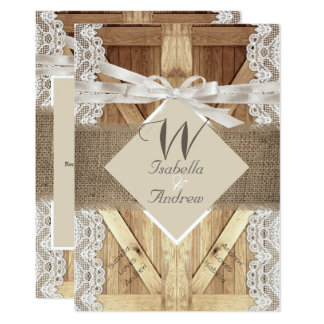 Rustic Door Wedding Beige White Lace Wood Burlap 2 Card