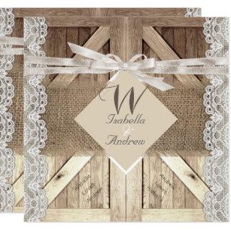 Rustic Door Wedding Lace Wood Burlap Writing 2 Card