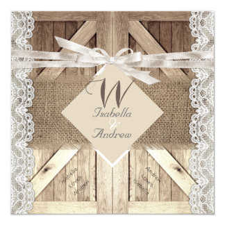 Rustic Door Wedding Lace Wood Burlap Writing 2 Card