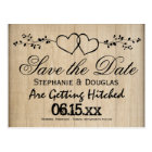 Rustic Double Hearts Save the Date Postcards
