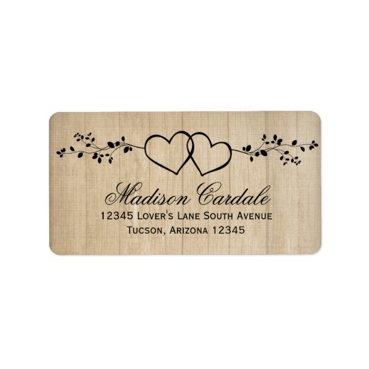 Rustic Double Hearts Wedding Address Labels
